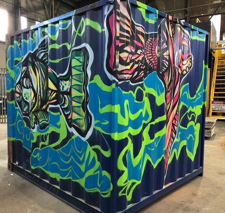 10 ft shipping container with art design