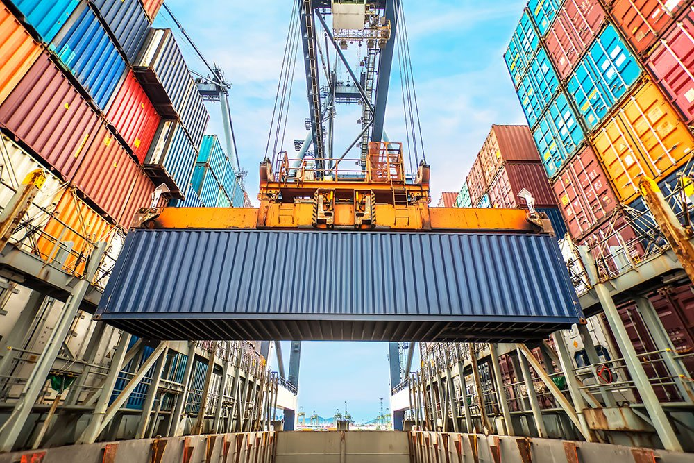 container loading in a cargo ship
